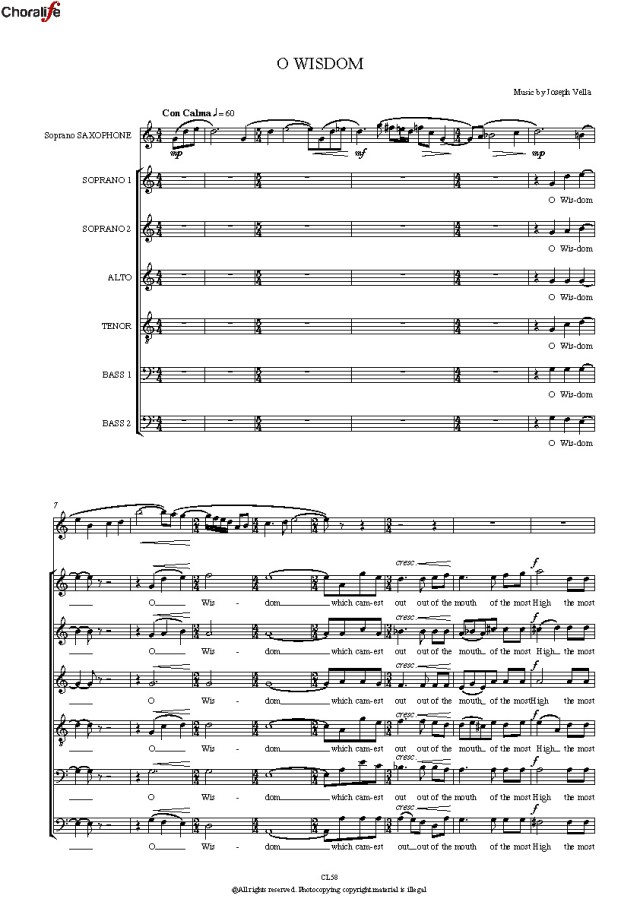 Joseph Vella: O Wisdom – SSATBB Choir and Soprano Saxophone ...