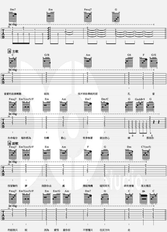 那些你很冒險的夢 - 林俊杰 - 吉他譜 - Chord4