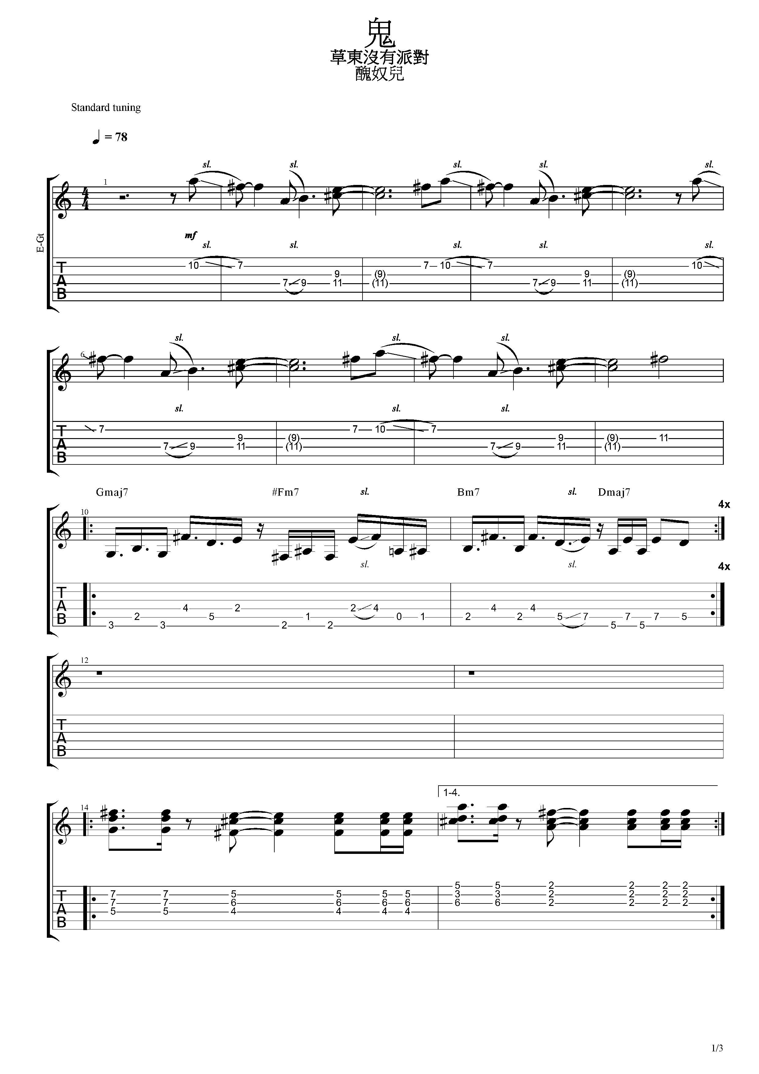 鬼 - 草東沒有派對 - 吉他譜 - Chord4