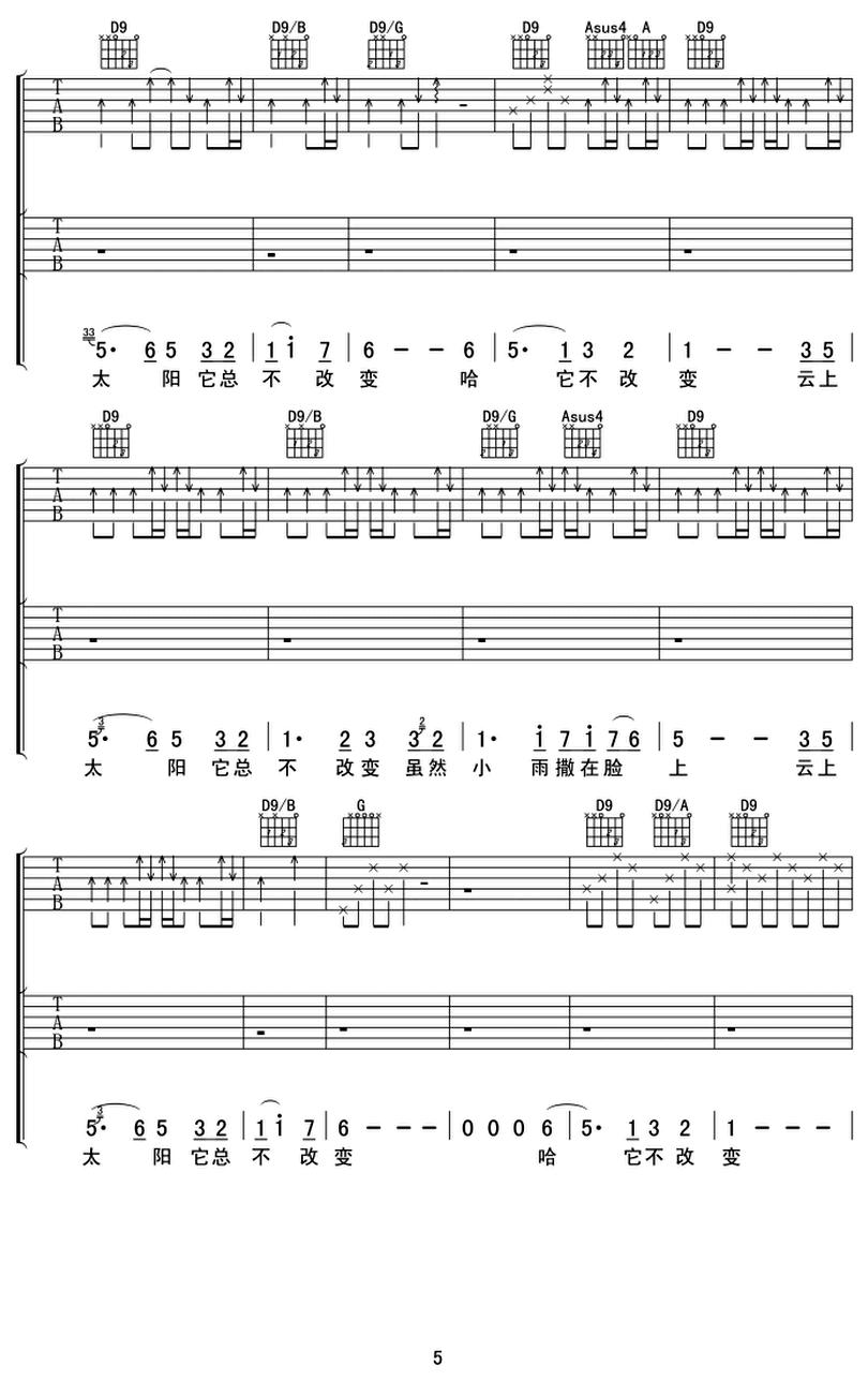 雲上太陽 - 讚美之泉音樂事工 - 吉他譜 - Chord4