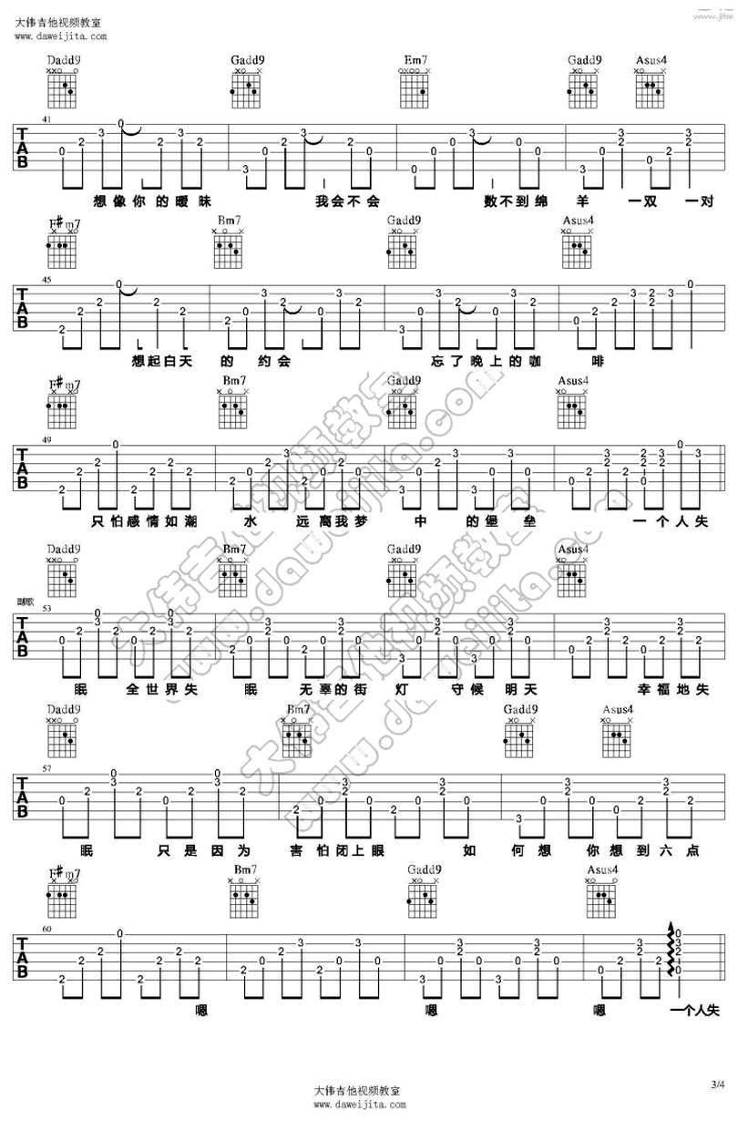全世界失眠 - 陳奕迅 - 吉他譜 - Chord4