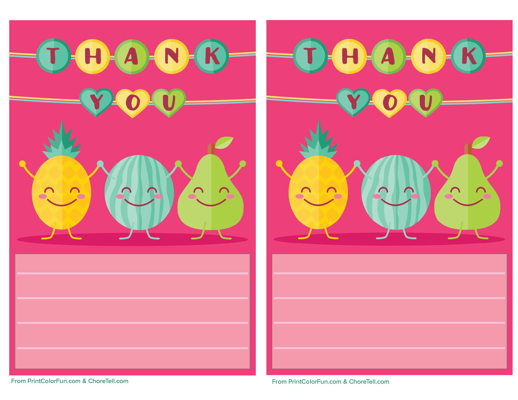 cute fruit printable thank