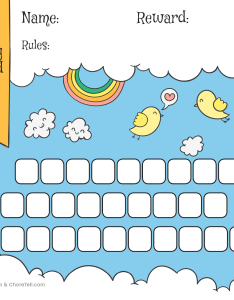 Rainbow  sky day reward chart for kids also free printable rh choretell