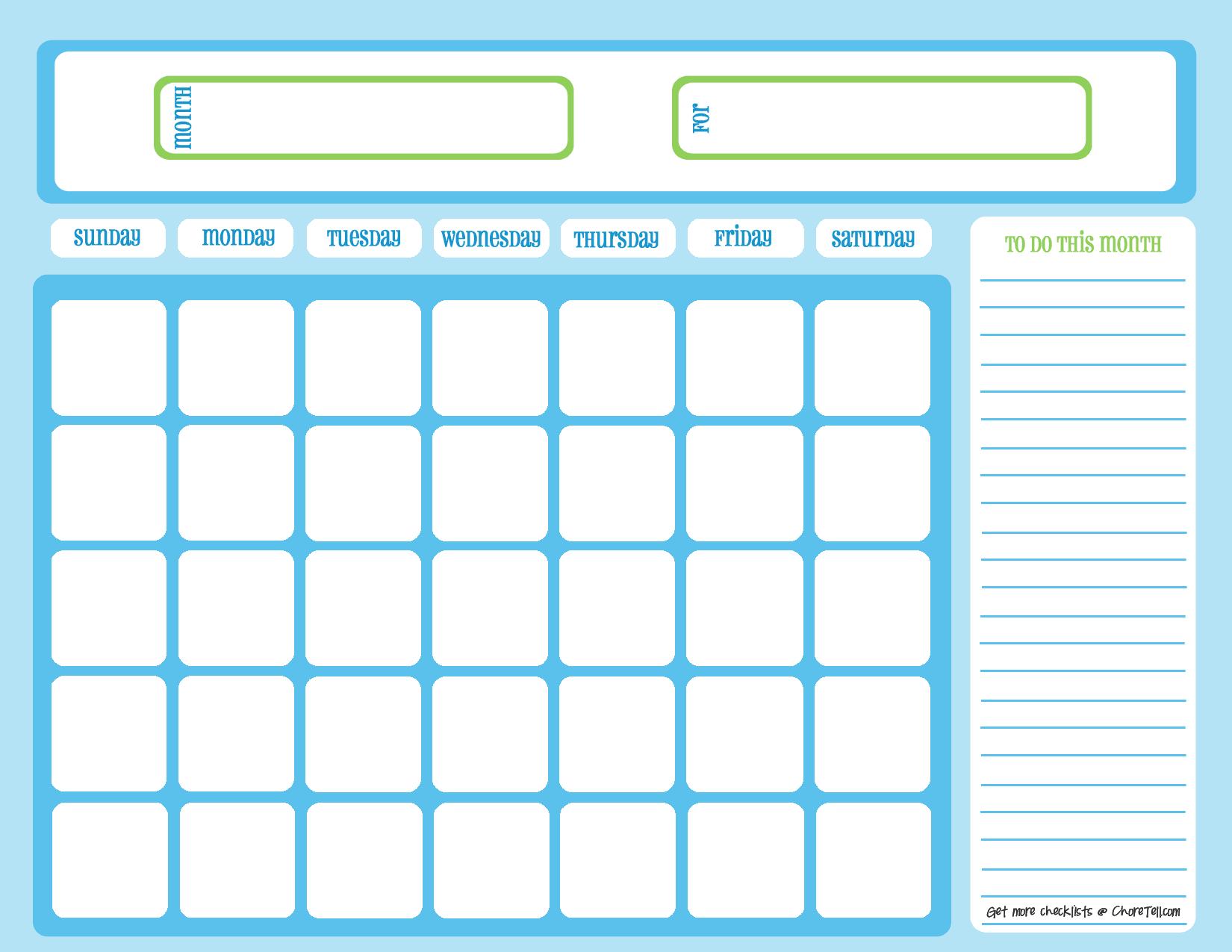 Blank Chore Calendar Blue On Light Blue Free Printable