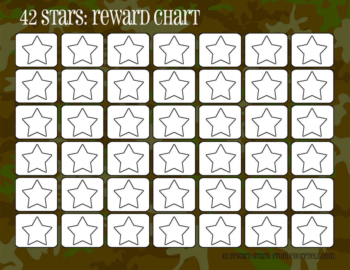 Camo Rewards Charts 42 Stars Free Printable Downloads From ChoreTell