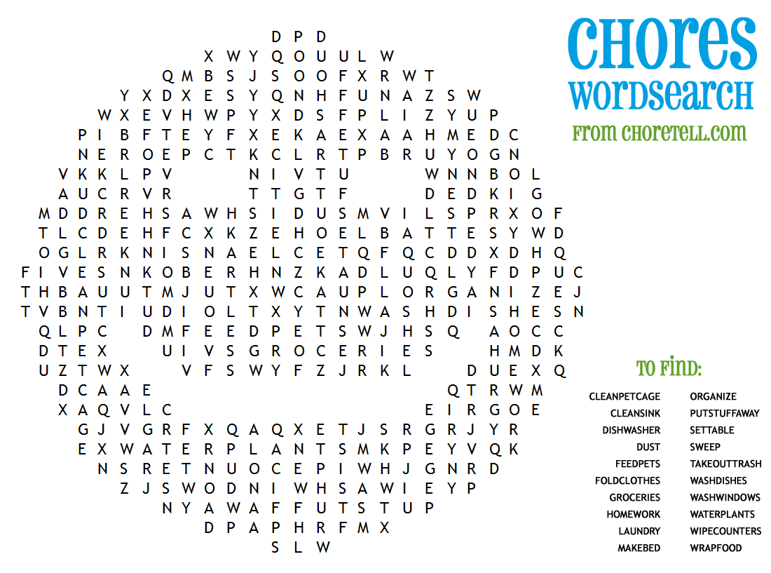 Chores Wordsearch