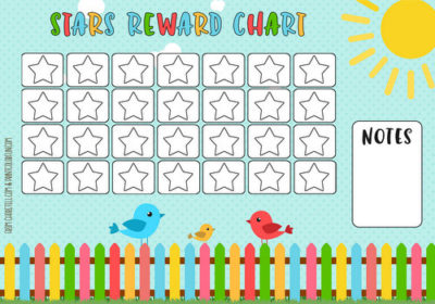 Cute Birds Amp Picket Fence Rewards Chart Free Printable