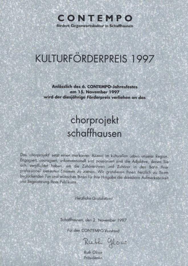 19971102 Contempo Preis Urkunde
