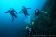 Stěna Malého Fraškeru, potápění v Chorvatsku
