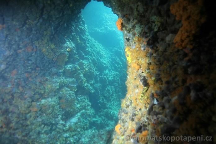 Jeskyňka na Kaňonu, potápění v Chorvatsku