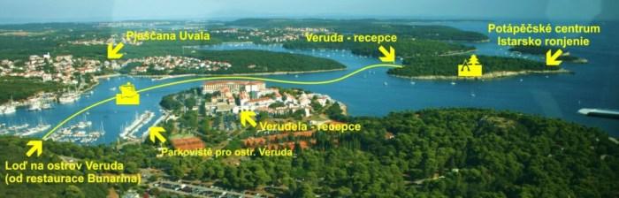 Plánek přívozu z přístavu Bunarina na ostrov Veruda