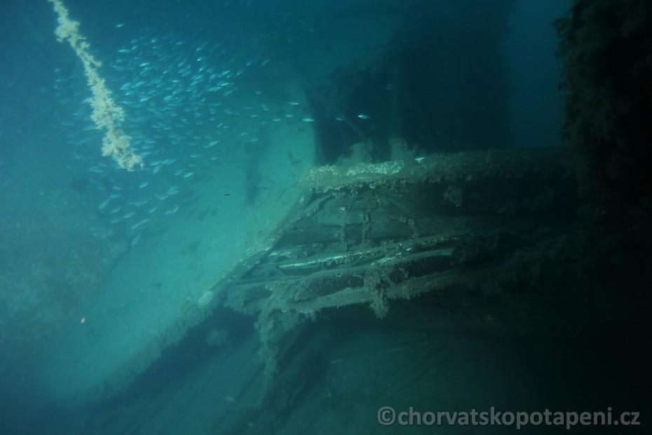 Trosky vraku Golub, potápění Chorvatsko