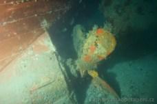 Propeler vraku Golub, potápění v Chorvatsku