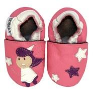 chaussons bébé en cuir Fée des étoiles 100% artisanal CHOUBALLON