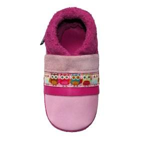 Les chaussons en cuir souple bebe fabrication française ruban Hibou Chouballon
