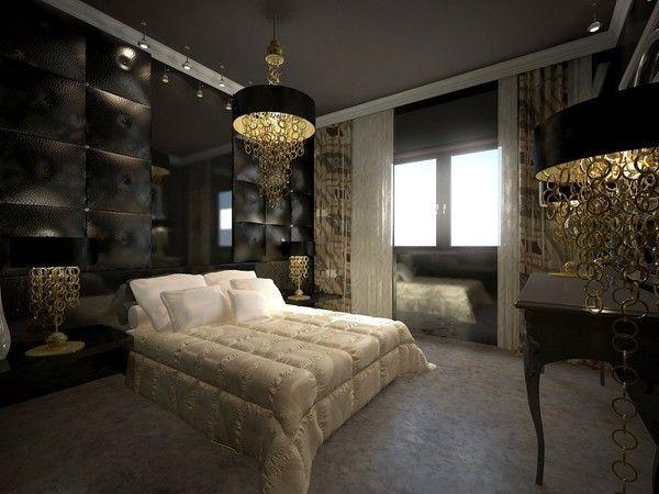 Dcoration chambre moderne noir et dor