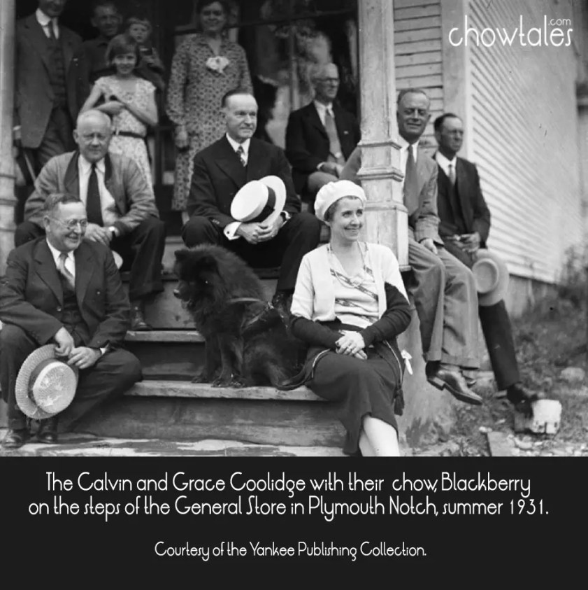 The Calvin and Grace Coolidge with their chow, Blackberry on the steps of the General Store in Plymouth Notch, summer 1931. Courtesy of the Yankee Publishing Collection.
