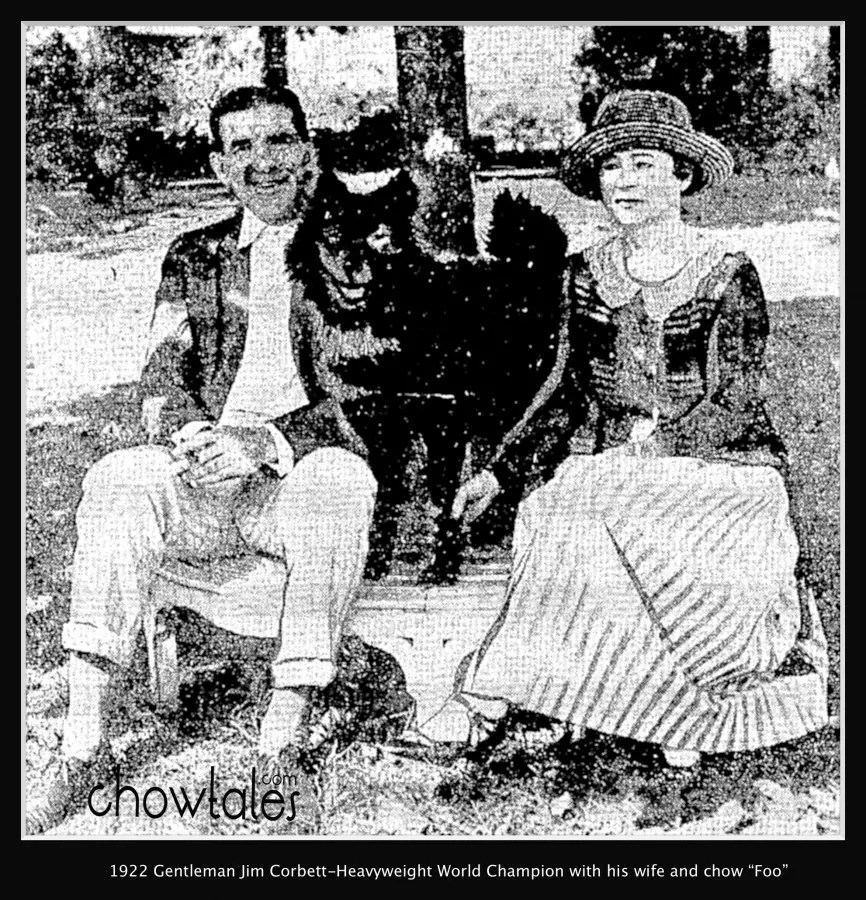 Gentleman Jim James Corbett Heavyweight champion fighter 1922 with his chow dog Foo