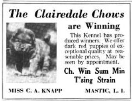 1922 Country Life Ad Clairedale Chows