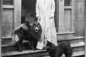 1914 Lady Dunbar of Mochrum with 2 of her dogs Blue Joss and Blue China. Both Chinese imports