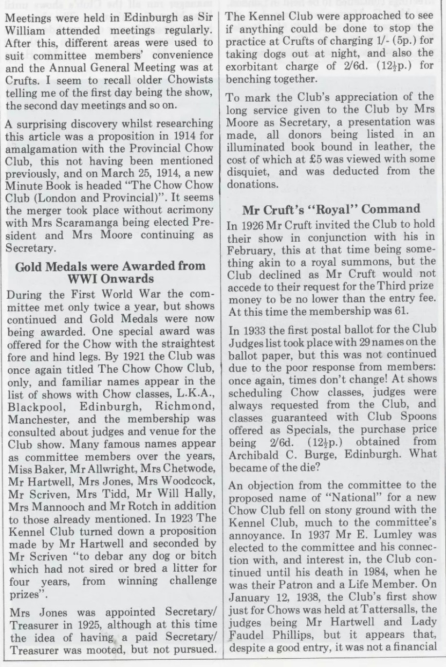 P-2-C Kennel Gazette Feb 1985 founding of Chow Chow Club UK - Version 3