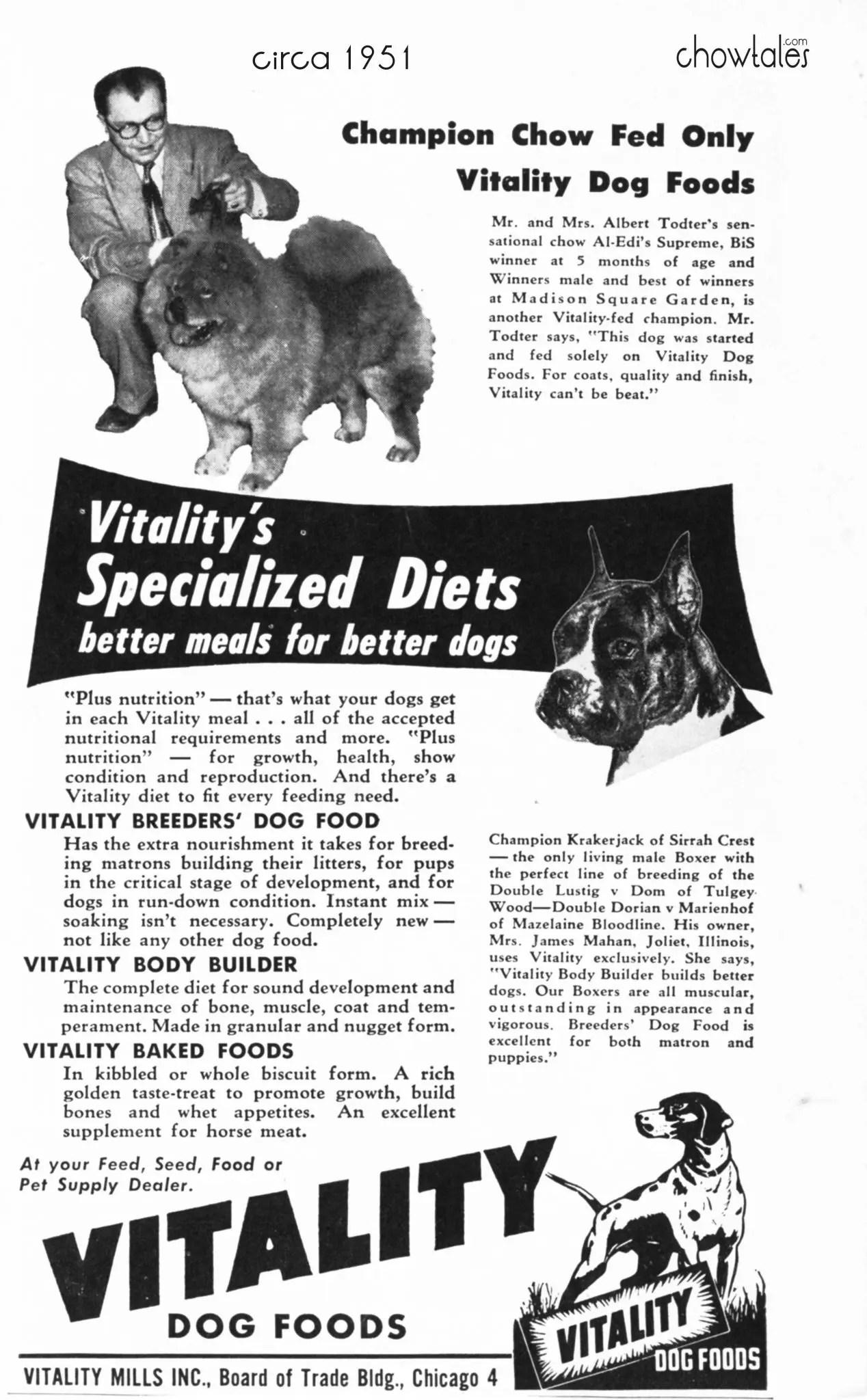 Vitality Dog Food Website