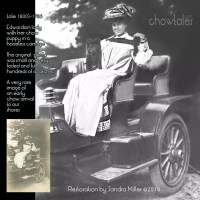 Very rare find -Edwardian Woman in horseless carriage with chow puppy
