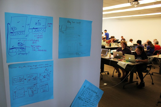 Different sketched out ideas to address our challenge's problem