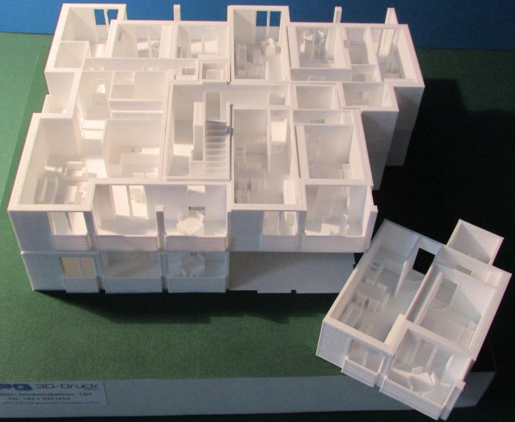 3d-gedruckte Wohnungsmodelle - zu Geschoßen zusammensetzbar