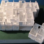 3d-gedrucktes Modell einer Garage im Maßstab 1:87