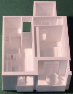 3D-gedrucktes Modell eines Regelgeschoßes - in die Einzelwohnungen zerlegbar