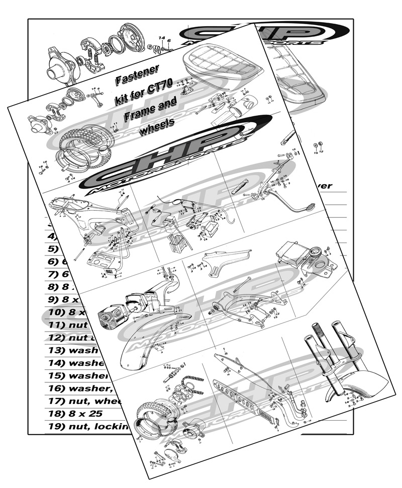 Fastener kit for CT70 Frame and wheels, EARLY VERSION FOR