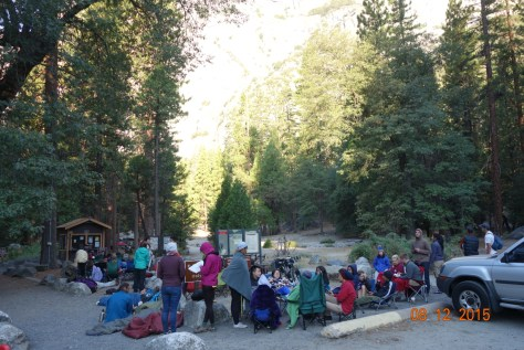 The line at camp 4! Everyone else was so well prepared with chairs, sleeping bags, etc.