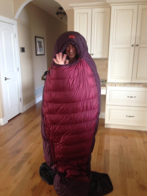 mom in a sleeping bag