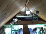 One side of sleeping loft in large cabin