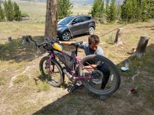 Makeshift bike stand at cabin