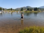 Morning swim at Steamboat Lake