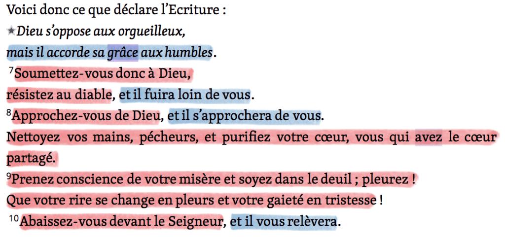 Lecture de la Bible : Commandements et promesses - Jacques 4v6-10