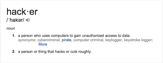 The definition of the word Hacker