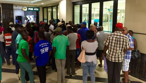 On the last day of the month, when many workers' monthly pay is automatically deposited into their accounts, there's a Black Friday-like line outside every bank and ATM to withdraw payday cash. This is at 9:55AM on April 30th.