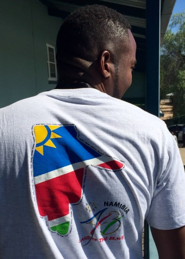 Dominic, one of our Silozi language instructors and a professional graphic artist, models the t-shirt he designed for Group 43. Guess who coordinated the printing at a screenprinting shop in Windhoek?