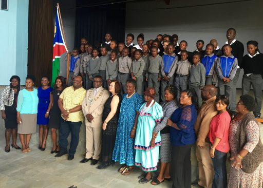 In a great example of corporate social responsibility, Swakop Uranium Company celebrates the donation of school uniforms to Arandis' primary schools. Even with this year's introduction of free education for all Namibian children through high school, many families struggle to pay for basic school supplies or the required uniforms.