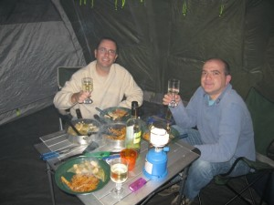 "Duncan and Chris - ""roughing it\"" Oct 2008"