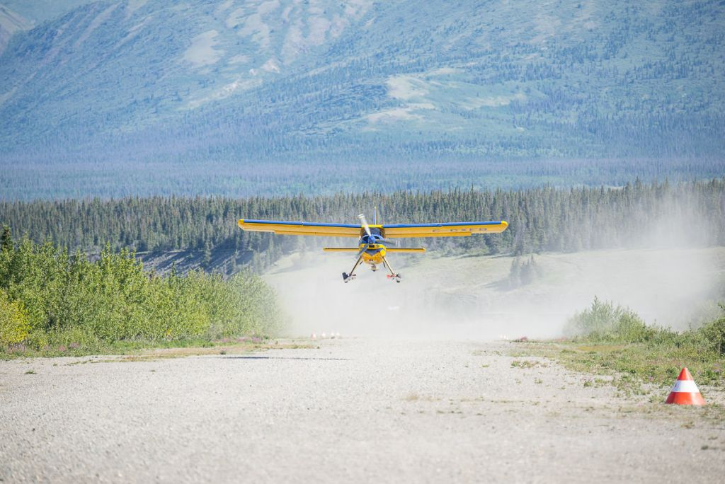 Icefield Discovery taildragger taking off to head into Kluane National Park and Reserve.