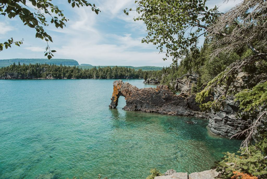 The Sea Lion in Sleeping Giant Provincial Park on a hot summer bay with the turquoise waters of Lake Superior glistening in the sun.