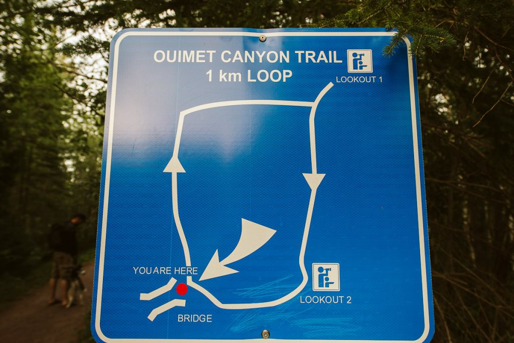Sign showing the one kilometre loop around Ouimet Canyon.