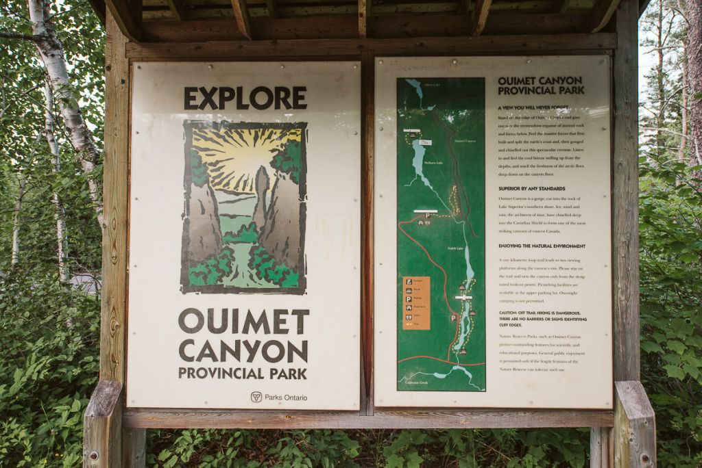 Information Board at Ouimet Canyon Provincial Park.