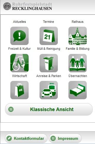 Startseite des mobilen Internetauftritts der Stadt Recklinghausen.
