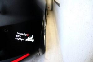 """Sticker """"Generation 5F goes Bispingen"""" auf der Heckschütze eines SEAT LEON 5F"""