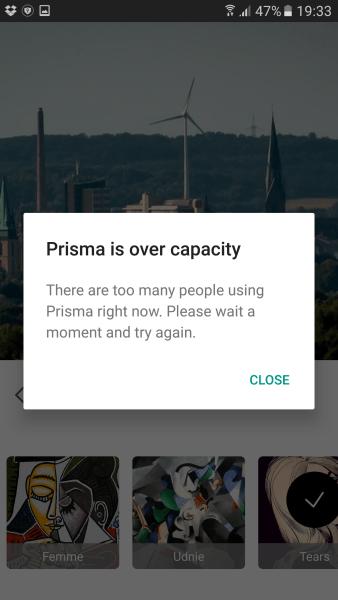 Prisma Server ausgelastet